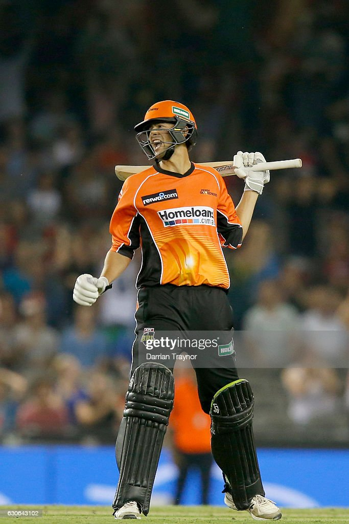 Ashton Agar after hitting a 6 on the final ball to win the Big Bash League match between the Melbourne Renegades and Perth Scorchers at Etihad Stadium on December 29, 2016 in Melbourne, Australia.