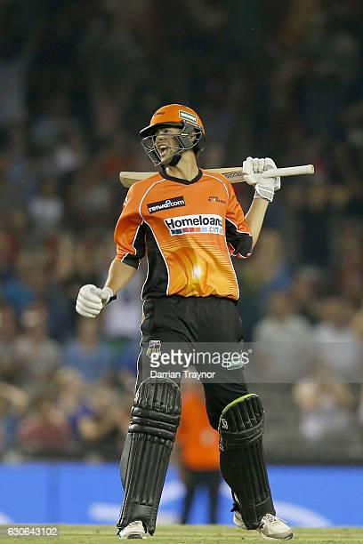 Ashton Agar after hitting a 6 on the final ball to win the Big Bash League match between the Melbourne Renegades and Perth Scorchers at Etihad...