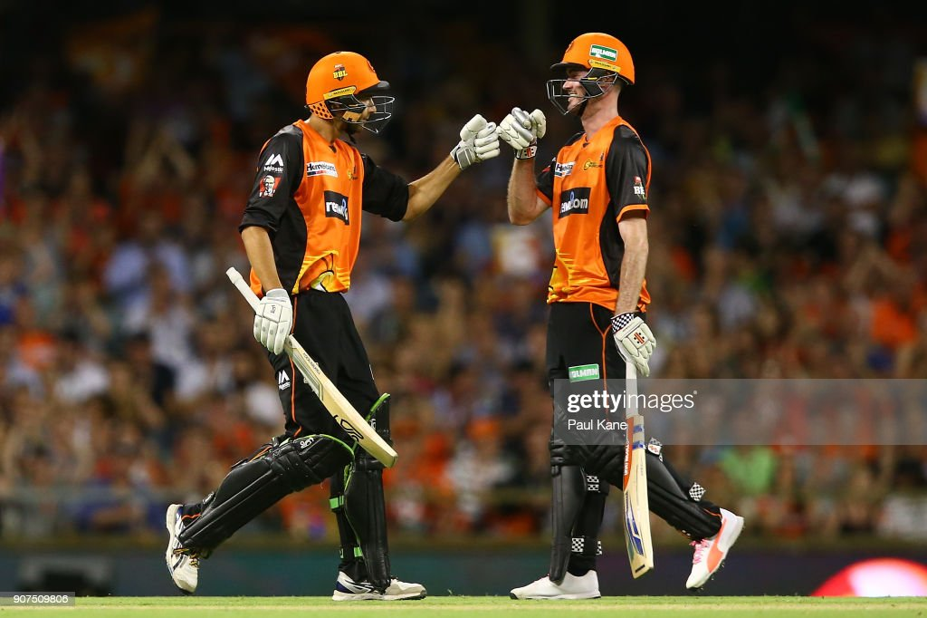 Ashton Agar and Ashton Turner of the Scorchers celebrate a boundary during the Big Bash League match between the Perth Scorchers and the Hobart Hurricanes at WACA on January 20, 2018 in Perth, Australia.