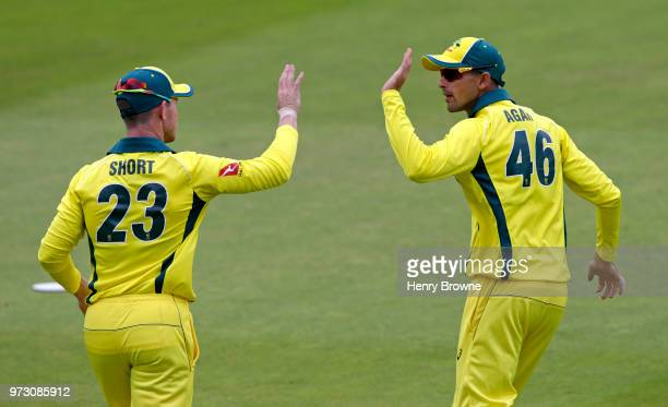 Ashton Agar and D'Arcy Short of Australia during the One Day Tour match between Middlesex and Australia at Lord's Cricket Ground on June 9 2018 in...