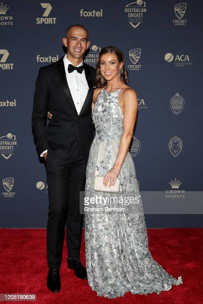 Ashton Agar and partner Madeleine Hay arrive ahead of the 2020 Cricket Australia Awards at Crown Palladium on February 10 2020 in Melbourne Australia