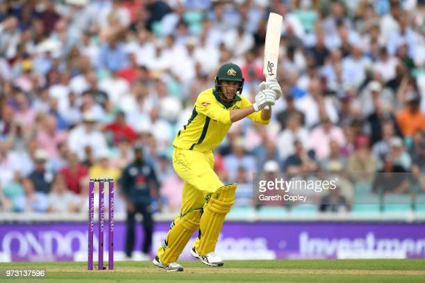 Ashton Agar of Australia bats during the 1st Royal London ODI match between England and Australia at The Kia Oval on June 13 2018 in London England