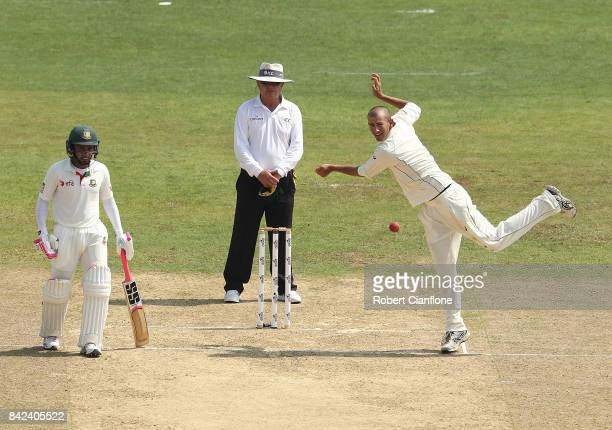 Ashton Agar of Australia bowls during day one of the Second Test match between Bangladesh and Australia at Zahur Ahmed Chowdhury Stadium on September...