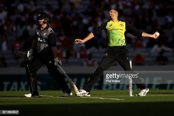 Ashton Agar of Australia bowls during the International Twenty20 Tri Series Final match between New Zealand and Australia at Eden Park on February 21...