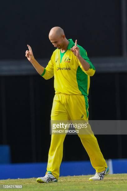 Ashton Agar of Australia celebrates the dismissal of Darren Bravo of West Indies during the 3rd and final ODI between West Indies and Australia at...
