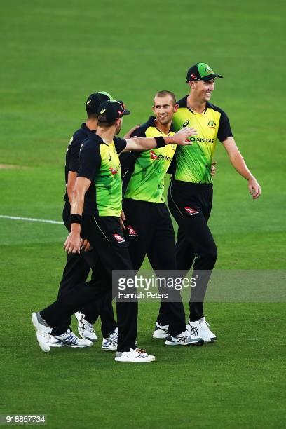 Ashton Agar of Australia celebrates the wicket of Tim Seifert of the Black Caps during the International Twenty20 match between New Zealand and...