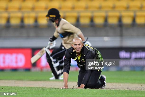 Ashton Agar of Australia during game four of the International T20 series between New Zealand Blackcaps and Australia at Sky Stadium on March 05,...