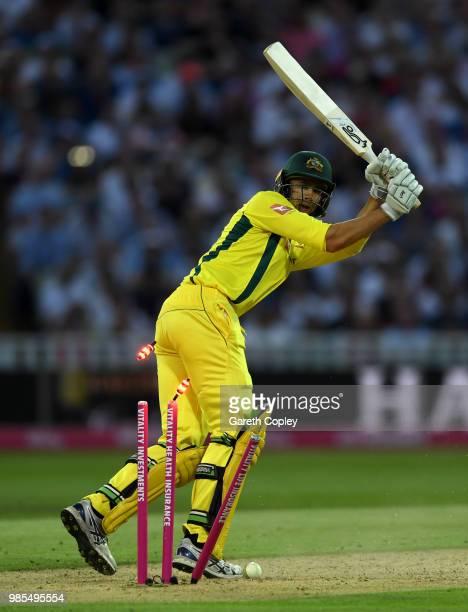 Ashton Agar of Australia is bowled by Chris Jordan of England during the Vitality International T20 between England and Australia at Edgbaston on...