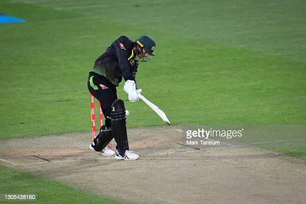 Ashton Agar of Australia is bowled by Trent Boult of the Black Caps during game four of the International T20 series between New Zealand Blackcaps...