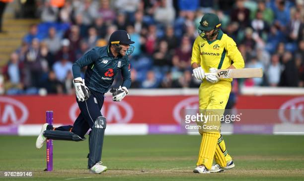 Ashton Agar of Australia is stumped by England wicketkeeper Jos Buttler during the 2nd Royal London ODI between England and Australia at SWALEC...