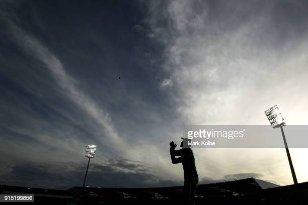 Ashton Agar of Australia takes a catch in the outfield during during the warmup before the Twenty20 International match between Australia and England...