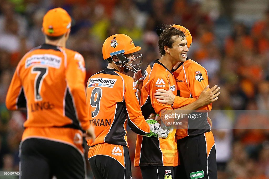 Ashton Agar of the Scorchers celebrates after dismissing Chris Jordan of the Strikers during the Big Bash League between the Perth Scorchers and Adelaide Strikers at WACA on December 23, 2016 in Perth, Australia.