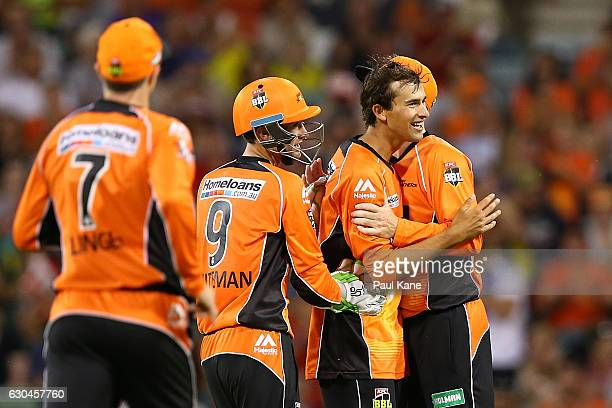 Ashton Agar of the Scorchers celebrates after dismissing Chris Jordan of the Strikers during the Big Bash League between the Perth Scorchers and...