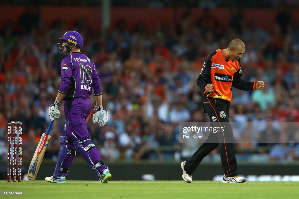 Ashton Agar of the Scorchers celebrates the wicket of Ben McDermott of the Hurricanes during the Big Bash League match between the Perth Scorchers and the Hobart Hurricanes at WACA on January 20, 2018 in Perth, Australia.