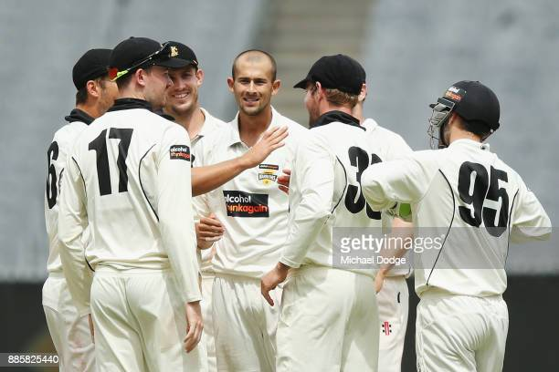 Ashton Agar of Western Australia celebrates the wicket of Seb Gotch of Victoria during day three of the Sheffield Shield match between Victoria and...