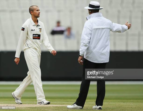 Ashton Agar of Western Australia reacts after bowling Seb Gotch of Victoria off a no ball during day three of the Sheffield Shield match between...