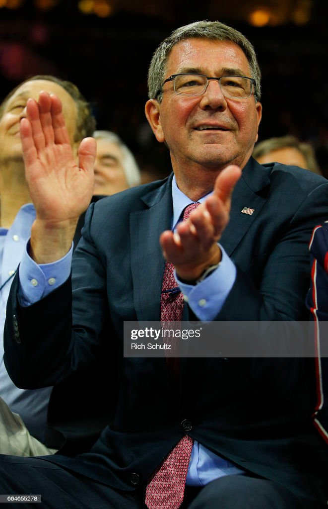 Ashton Carter, former United States Secretary of Defense watches the Brooklyn Nets play the Philadelphia 76ers in the first half during an NBA game at Wells Fargo Center on April 4, 2017 in Philadelphia, Pennsylvania. The Nets defeated 76ers 141-118.NOTE