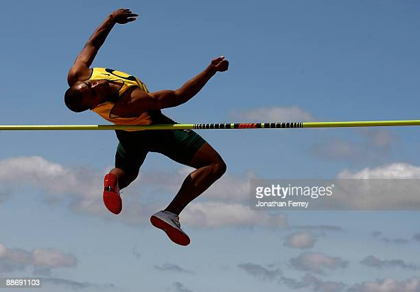 Ashton Eaton clears the bar during the high jump of the decathlon during day 1 of the USA Track and Field National Championships on June 25 2009 at...