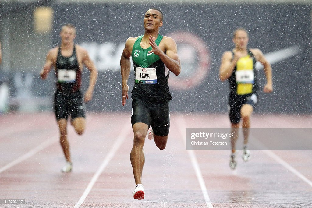Ashton Eaton competes in the men's 400 meter dash portion of the decathlon during Day One of the 2012 U.S. Olympic Track & Field Team Trials at Hayward Field on June 22, 2012 in Eugene, Oregon.