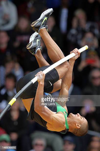 Ashton Eaton competes in the men's decathlon pole vault during Day Two of the 2012 US Olympic Track Field Team Trials at Hayward Field on June 23...
