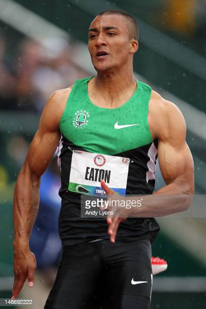 Ashton Eaton competes on his way to a world record in the men's 100 meter dash of the decathlon during Day One of the 2012 US Olympic Track Field...
