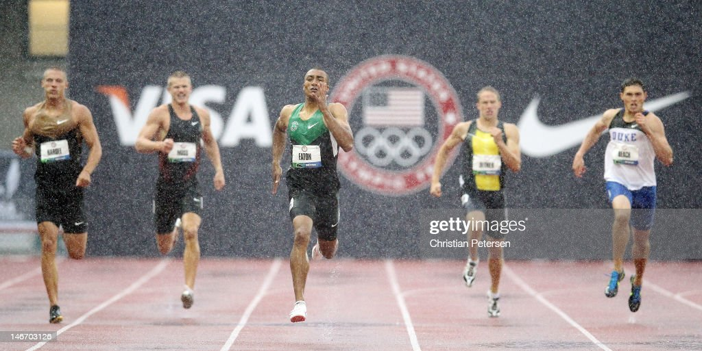 Ashton Eaton leads the field in the men's 400 meter dash portion of the decathlon during Day One of the 2012 U.S. Olympic Track & Field Team Trials at Hayward Field on June 22, 2012 in Eugene, Oregon.