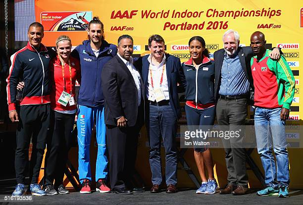 Ashton Eaton of the United States Brianne TheisenEaton of Canada Gianmarco Tamberi of Italy USATF CEO Max Siegel IAAF President Lord Sebastian Coe...