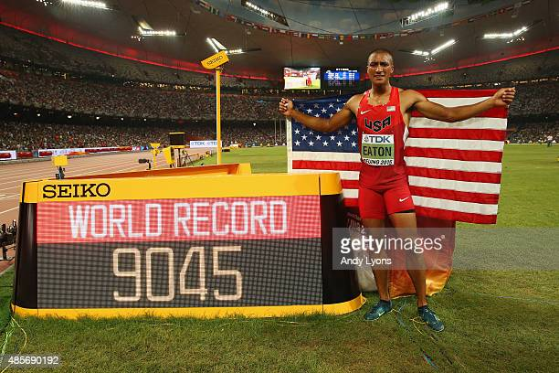 Ashton Eaton of the United States celebrates after finishing second in the Men's Decathlon 1500 metres heat 2 to win gold in the overall Men's...