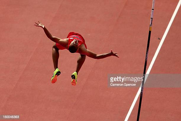 Ashton Eaton of the United States celebrates during the Men's Decathlon Pole Vault on Day 13 of the London 2012 Olympic Games at Olympic Stadium on...