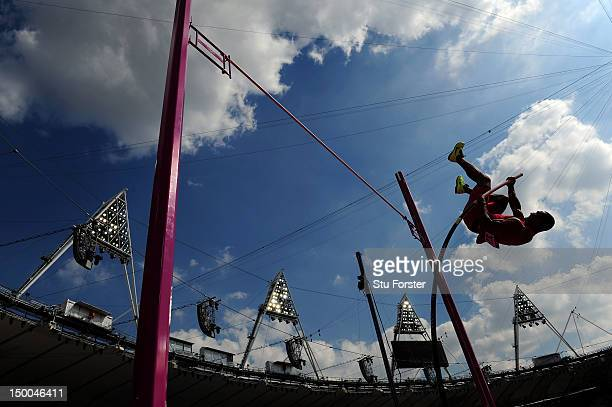 Ashton Eaton of the United States competes during the Men's Decathlon Pole Vault on Day 13 of the London 2012 Olympic Games at Olympic Stadium on...