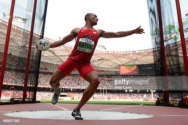 Ashton Eaton of the United States competes in the Men's Decathlon Discus during day eight of the 15th IAAF World Athletics Championships Beijing 2015...