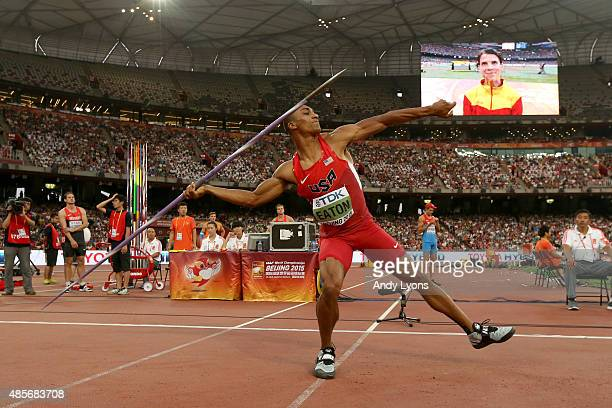 Ashton Eaton of the United States competes in the Men's Decathlon Javelin during day eight of the 15th IAAF World Athletics Championships Beijing...