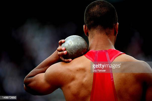Ashton Eaton of the United States competes in the Men's Decathlon Shot Put on Day 12 of the London 2012 Olympic Games at Olympic Stadium on August 8...