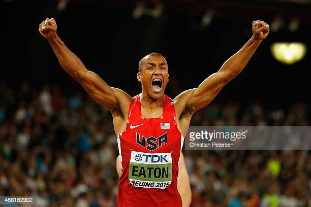 Ashton Eaton of the United States crosses the finish line to win his Men's Decathlon 400 metres heat to lead the overall Decathlon during day seven...