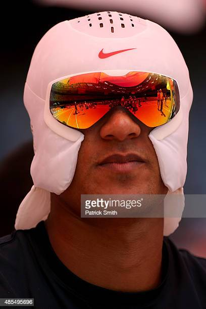 Ashton Eaton of the United States looks on before competing in the Men's Decathlon Shot Put during day seven of the 15th IAAF World Athletics...