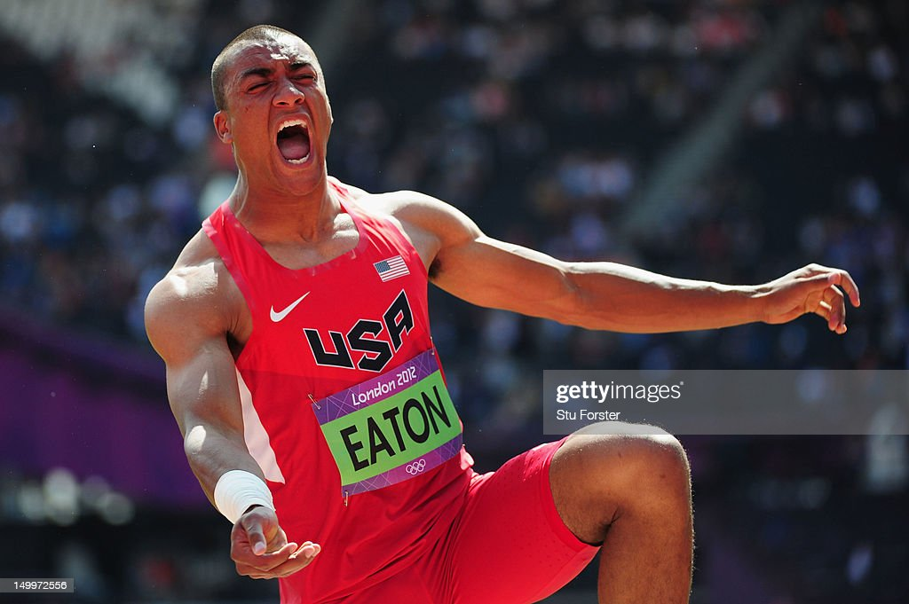 Ashton Eaton of the United States reacts after competing in the Men's Decathlon Shot Put on Day 12 of the London 2012 Olympic Games at Olympic Stadium on August 8, 2012 in London, England.