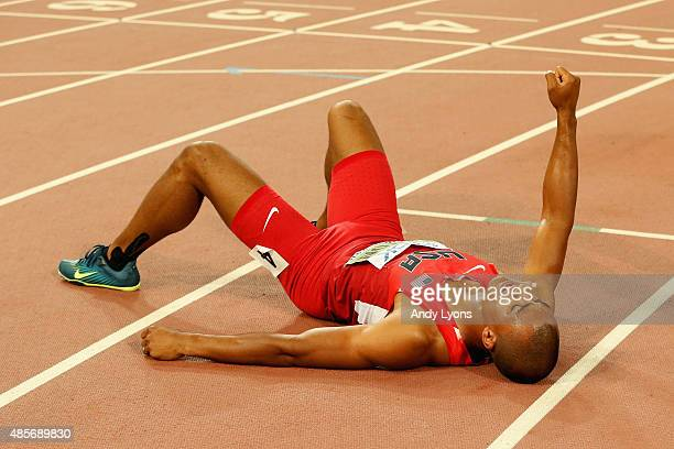 Ashton Eaton of the United States reacts after finishing second in the Men's Decathlon 1500 metres heat 2 to win gold in the overall Men's Decathlon...