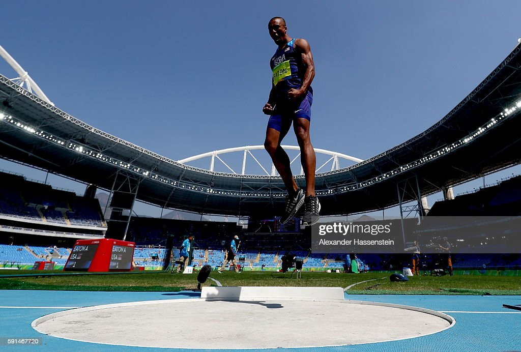 Ashton Eaton of the United States reacts during the Men's Decathlon Shot Put on Day 12 of the Rio 2016 Olympic Games at the Olympic Stadium on August 17, 2016 in Rio de Janeiro, Brazil.