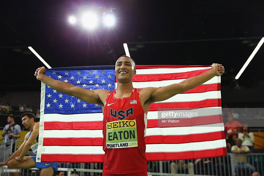 Ashton Eaton of the United States wins gold in the Men's Heptathlon during day three of the IAAF World Indoor Championships at Oregon Convention Center on March 19, 2016 in Portland, Oregon.
