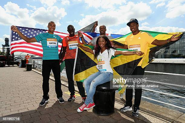 Ashton Eaton of the USA David Rudisha of Kenya James Dasaolu of Great Britain and ShellyAnn FraserPryce and Yohan Blake of Jamacia during a photocall...