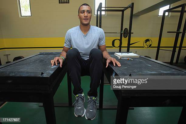 Ashton Eaton of the USA Track and Field Team works out in the weight room while training at Hayward Field on the campus of the University of Oregon...