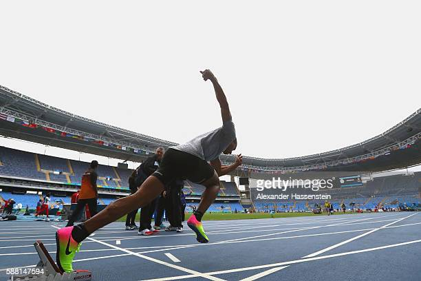 Ashton Eaton of USA starts during a training session on Day 5 of the Rio 2016 Olympic Games at Olympic Stadium on August 10 2016 in Rio de Janeiro...