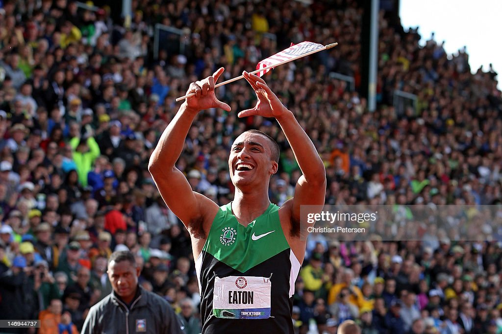 Ashton Eaton reacts after breaking the world record in the men's decathlon after competing in the 1500 meter run portion during Day Two of the 2012 U.S. Olympic Track & Field Team Trials at Hayward Field on June 23, 2012 in Eugene, Oregon.