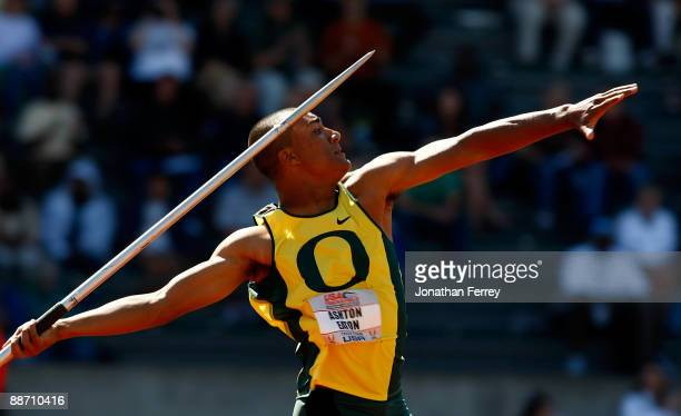 Ashton Eaton throws a javelin during the decathlon competition during day 2 of the USA Track and Field National Championships on June 26, 2009 at...