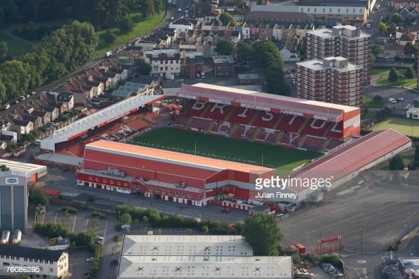 Ashton Gate home of Bristol City FC is seen during day two of the Bristol Balloon Fiesta on August 10 2007 in Bristol England