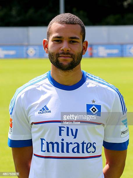 Ashton Goetz of Hamburger SV poses during the team presentation of Hamburger SV at Volksparkstadion on July 15 2015 in Hamburg Germany