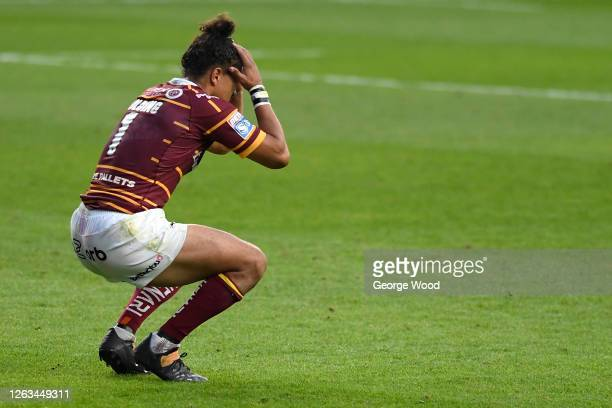 Ashton Golding of Huddersfield Giants puts his hands to his head in dejection following the Betfred Super League match between Huddersfield Giants...