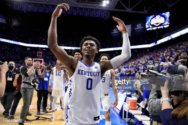 Ashton Hagans of the Kentucky Wildcats celebrates after 78-70 OT win against the Louisville Cardinals at Rupp Arena on December 28, 2019 in...