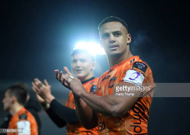 Ashton Hewitt of Dragons celebrates at the final whistle during the European Rugby Challenge Cup Round 4 match between Dragons Rugby and Worcester...