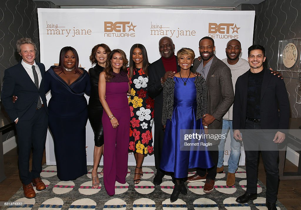 Ashton Holmes, Raven Goodwin, Valarie Pettiford, Lisa Vidal, Gabrielle Union, Richard Roundtree, Margaret Avery, Chike Okonkwo, BJ Britt, and Nicolas Gonzales attend the Being Mary Jane Premiere Screening and Party on January 9, 2017 in New York City.